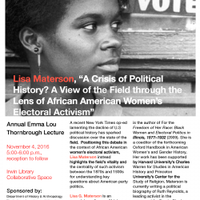 Materson to present Thornbrough lecture